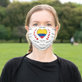 Colombia Flag & Heart, Colombian Flag mask /sports