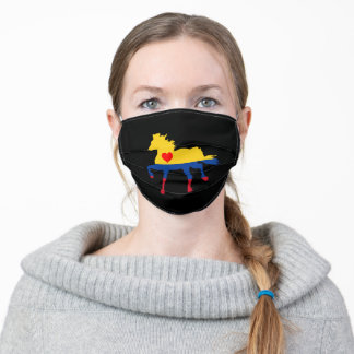 Colombia, flag & Horse Running - Heart /face mask