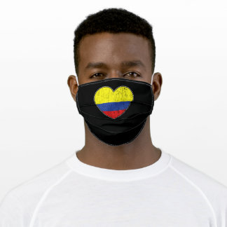 Colombia Flag Love Heart Colombian Adult Cloth Face Mask