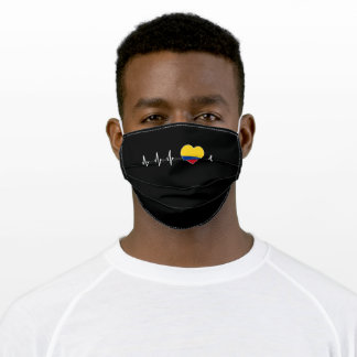 Colombian Heartbeat I Love Colombia Flag Heart Adult Cloth Face Mask