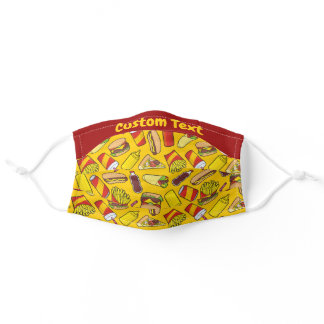 Color Fast Food Icons Pattern Adult Cloth Face Mask