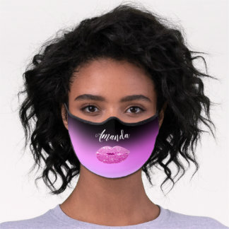 Color To Heal Custom Name Pink Ombre Kiss Lips Premium Face Mask
