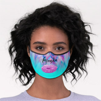 Color To Heal Kiss Lips. Name Blue Girly. Premium Face Mask