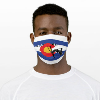Colorado Flag and Snow Skier Adult Cloth Face Mask