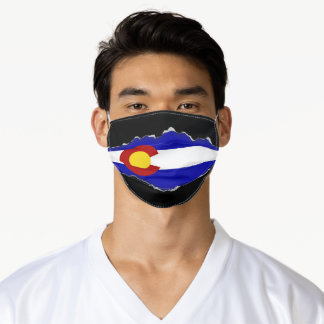Colorado Flag | Faux Torn Out Look Adult Cloth Adult Cloth Face Mask