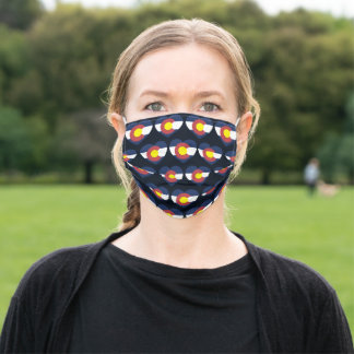 Colorado State Flag Love Heart Pattern Adult Cloth Face Mask