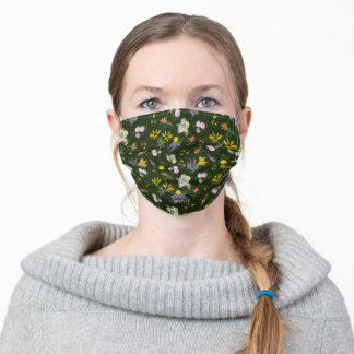 Colorado Wildflower Chintz Green Monogrammed Adult Cloth Face Mask