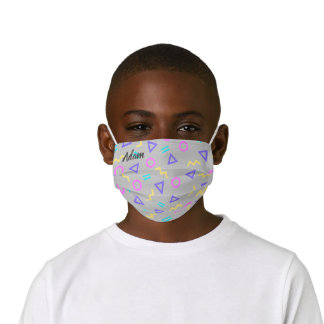 Colored Funky Memphis Pattern of Geometric Shapes Kids' Cloth Face Mask