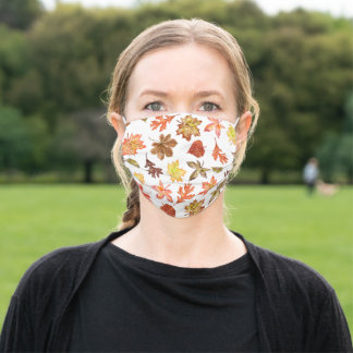 colorful autumn leaves pattern custom monogrammed adult cloth face mask