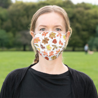 colorful autumn leaves pattern custom monogrammed cloth face mask