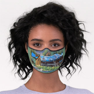 Colorful Barn in Mountain Ranch Scene Premium Face Mask