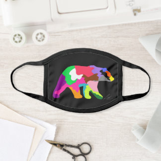 Colorful Bear Silhouette Contemporary Art Face Mask