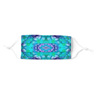 Colorful Blue and Purple Boho Mandala Kaleidoscope Adult Cloth Face Mask