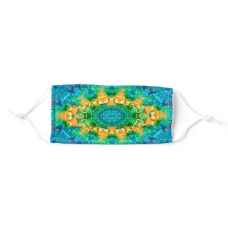 Colorful, Blue, Green and Yellow Boho MAndala Adult Cloth Face Mask