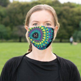Colorful Bohemian Flower with Custom Monogram Adult Cloth Face Mask