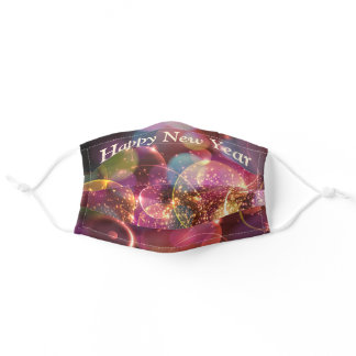 Colorful Bokeh Sparkle Happy New Year Adult Cloth Face Mask