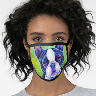 Colorful Boston Terrier Dog Face Mask