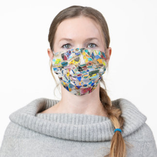 Colorful broken pottery cheerful abstract mosaic adult cloth face mask