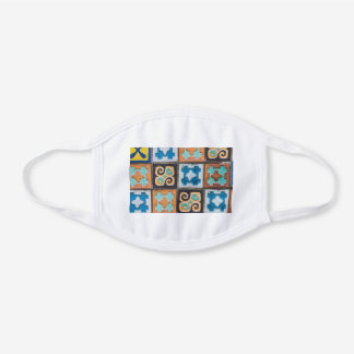 Colorful Ceramic Tiles Pattern Design White Cotton Face Mask