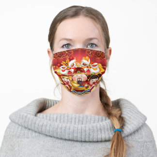 Colorful Chinese New Year dragons & people Adult Cloth Face Mask