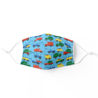 Colorful Construction Trucks Boys Kids Adult Cloth Face Mask