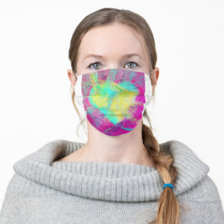 Colorful & Cool Yellow Teal Heart Pink Pop Art Fun Adult Cloth Face Mask