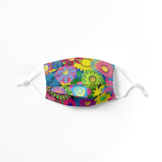 Colorful Cute Yellow Pink Blue Green Flowers Kids' Cloth Face Mask