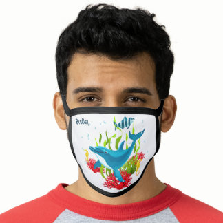 Colorful Dolphin Nautical Beach Kids Personalized Face Mask