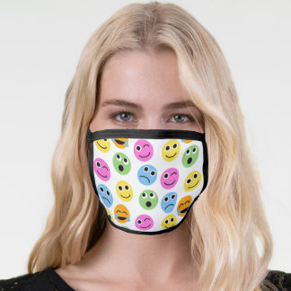 Colorful Emoji Emoticon Faces Patterned Face Mask