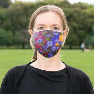 Colorful Floral Garden Fine Art Painting Adult Cloth Face Mask