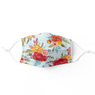 Colorful Flower Pattern Adult Cloth Face Mask