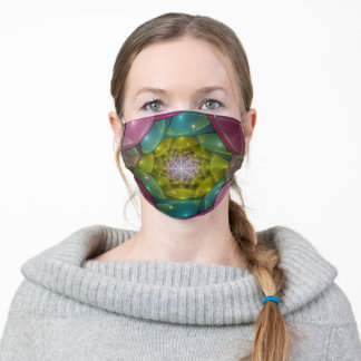 Colorful geometric fractal abstract. adult cloth face mask