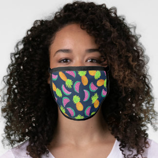 Colorful hand painted pineapple watermelon pattern face mask