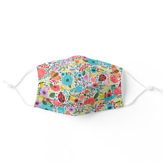 Colorful Happy Floral Pattern Cute Wild Flowers Adult Cloth Face Mask