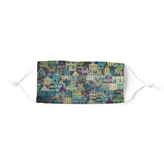 Colorful Houses in Rows Adult Cloth Face Mask