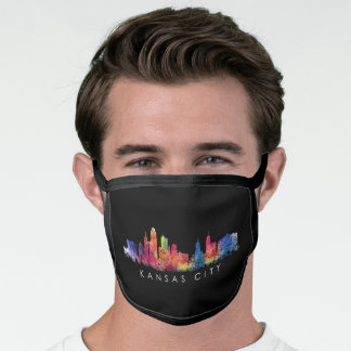 Colorful Kansas City Skyline Abstract Art Face Mask