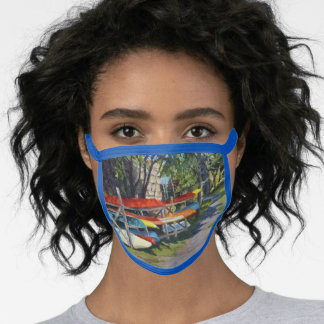 Colorful Kayaks Rockport Maine View Face Mask