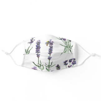 Colorful Lavender Watercolor Flowers Adult Cloth Face Mask