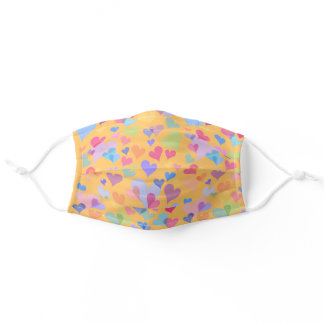 Colorful Light Heart Pattern - Cute Cheerful Girly Adult Cloth Face Mask