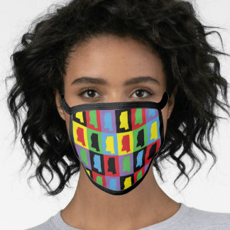 Colorful Mississippi US State Pop Art Pattern Face Mask