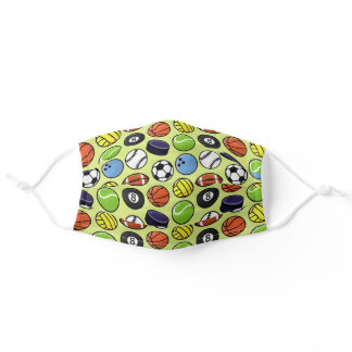 Colorful Modern Ball Sports Pattern Adult Cloth Face Mask