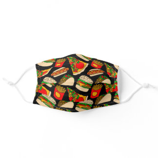 Colorful Modern Pizza Fries Nachos Burger Food Adult Cloth Face Mask