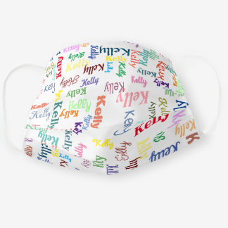 Colorful Monogram First Name Cute Covid 19 White Cloth Face Mask