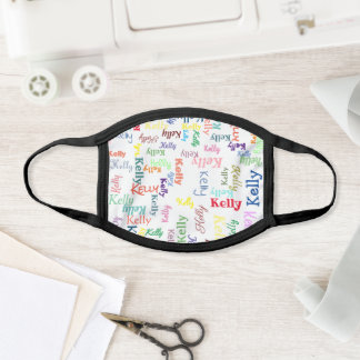 Colorful Monogrammed First Name Cute Funky Bright Face Mask
