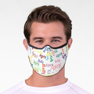 Colorful Monogrammed First Name Cute Funky Bright Premium Face Mask