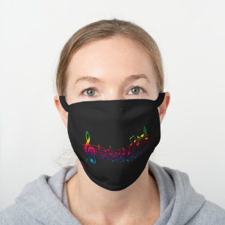 Colorful Music Notes, Gifts for Music Lovers Black Cotton Face Mask