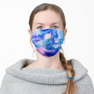 Colorful paper marbling bright colors adult cloth face mask