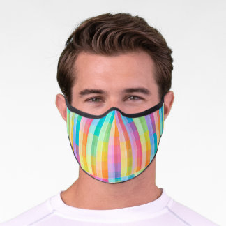 Colorful Pastel Geometric Tiles Squares Pattern | Premium Face Mask