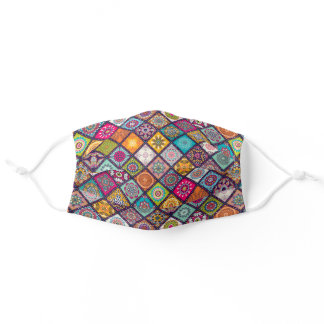 Colorful Patchwork Mosaic Cloth Face Mask Cover