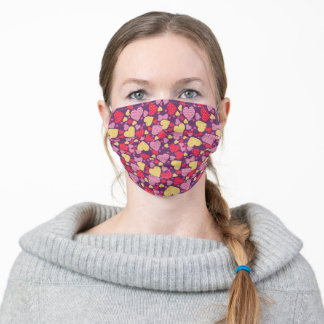 Colorful Patterned Hearts Collage Valentines Adult Cloth Face Mask